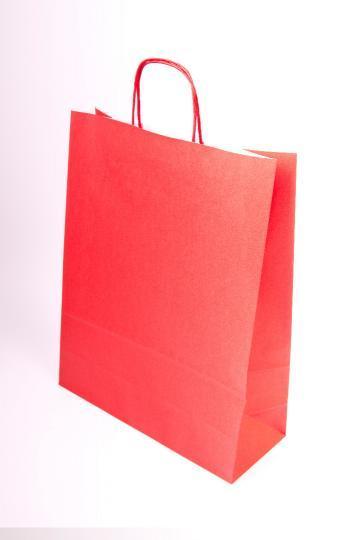Papiertragetasche, farbige, auf weißem Kraft, mit farbiger,  - gedrehter Papierkordel;