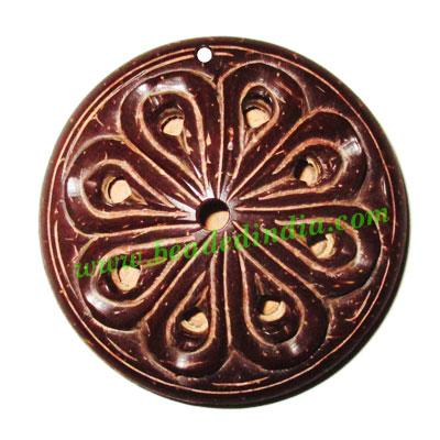Handmade coconut shell wood pendants, plain back, size : 47x - Handmade coconut shell wood pendants, plain back, size : 47x12mm