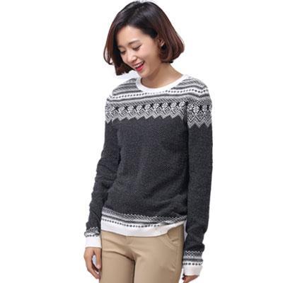 Women's Crew Neck Brocade Sweater