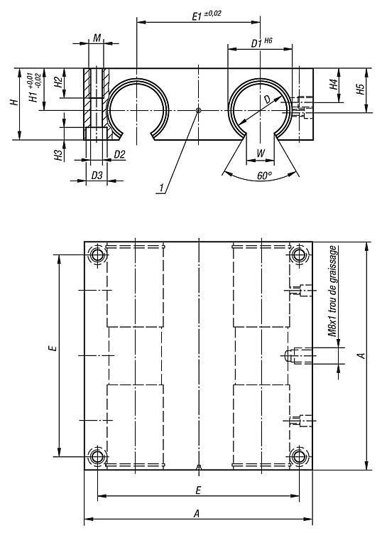 Unité linéaire quadruple, ouverte - Système de guidage linéaire