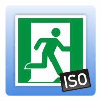 Rettungszeichen Notausgang rechts ISO 7010 - Größe: 100 x 100 mm 150 x 150 mm 200 x 200 mm 300 x 300 mm 1