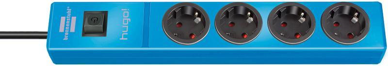 hugo! extension socket 4-way blue 2m H05VV-F 3G1.5 - null