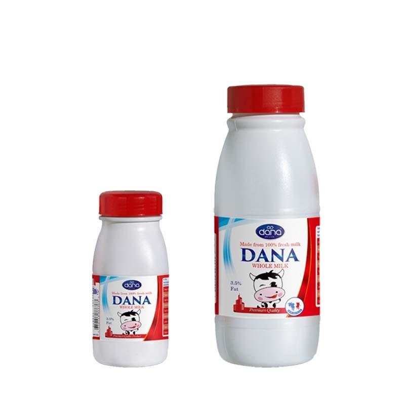 DANA UHT MILK in HDPE Plastic Bottles with cap 3 sizes  - Full Cream and Semi Skimmed UHT Milk in HDPE Bottles 250 ml, 500 ml, 1000 ml