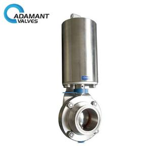 Sanitary Butterfly Valves - Sanitary Butterfly Valves with Tri-clamp Ends, Pneumatic Operation