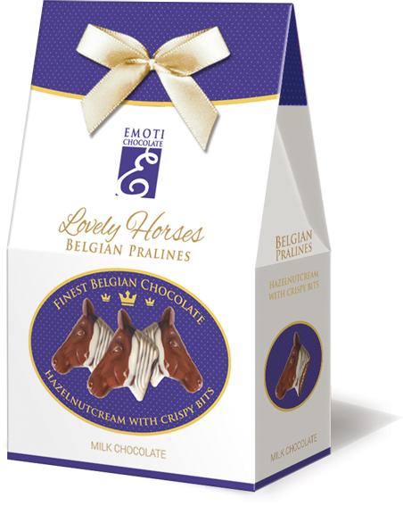EMOTI Horse's Head Milk Chocolates with hazelnut filing 80g  -