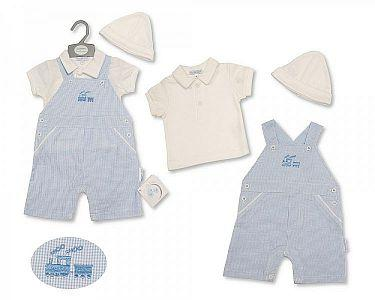 Baby Boys Dungaree Set with Hat - Train  -