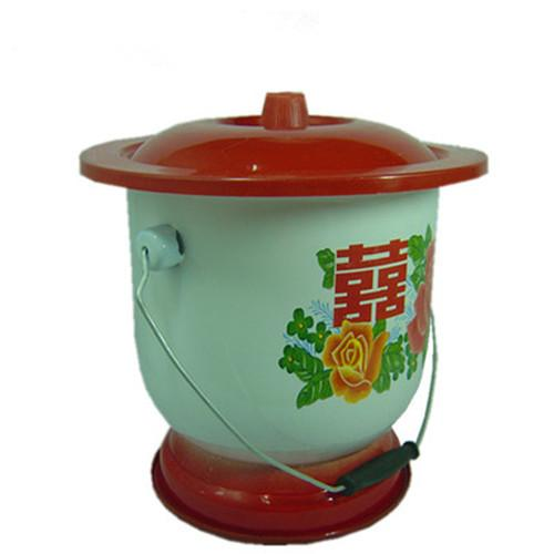 Enamel foot spittoon with handle 28 cm