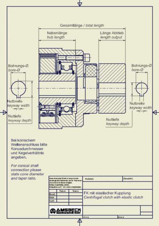 Fliehkraft-Kupplung mit Wellenkupplung - Fliehkraft-Kupplung mit elastischer Kupplung