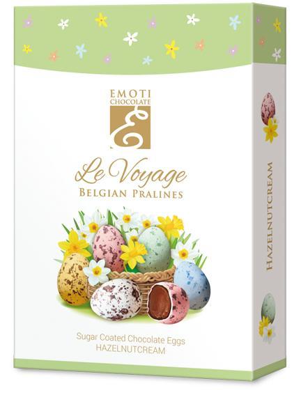 Emoti Le Voyage, 125g -  (sugar coated chocolate eggs with hazelnutcream)