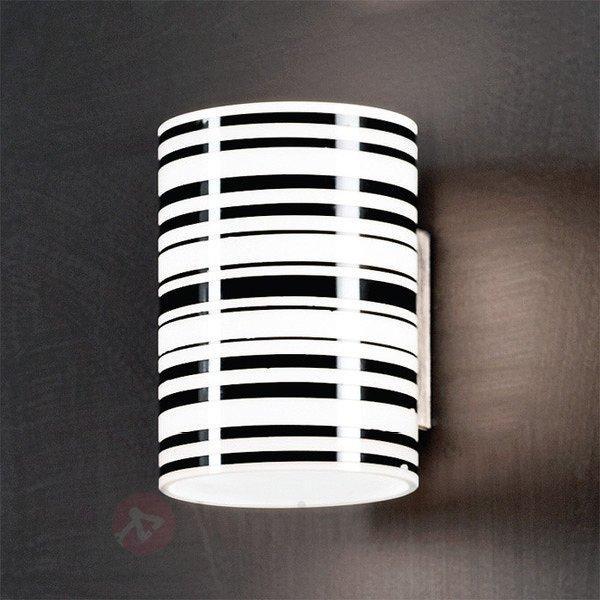 Applique rayée Emre noir et blanc - Appliques en verre