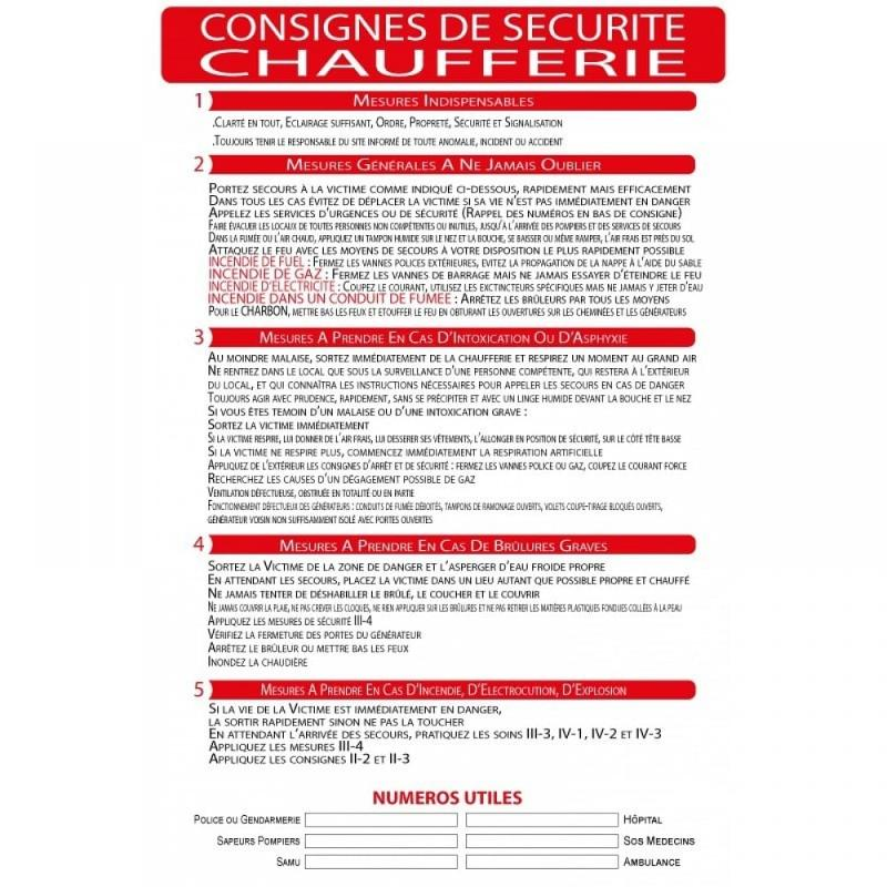Panneau consignes de sécurité chaufferie format A4 - Panneaux de sécurité