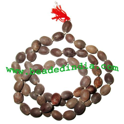 Kamal-Lotus Wood Beads-Seeds String (108+1 beads mala), size - Kamal-Lotus Wood Beads-Seeds String (108+1 beads mala), size: 10x16mm