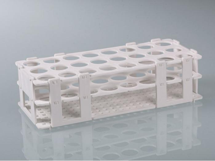 Soporte para tubos de ensayo - PP, blanco, esterilizable, 24 posiciones de almacenamiento, equipo de laborator.