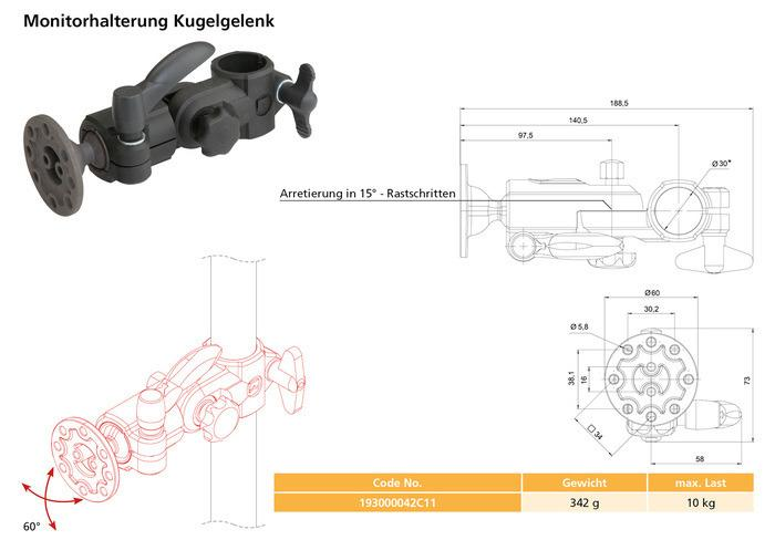 Ball joint monitor mounting -