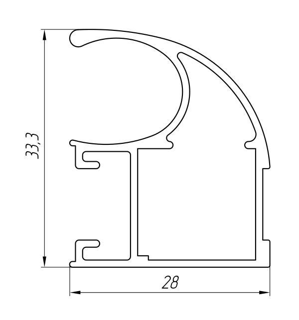 Aluminum Profile For Wardrobes Ат-3233 - Aluminum profile for wardrobes