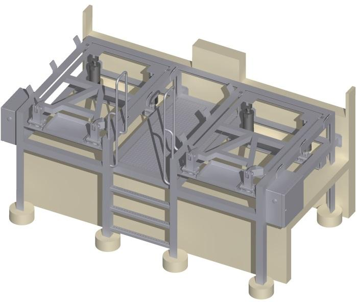 Container tipping station - for secure handling