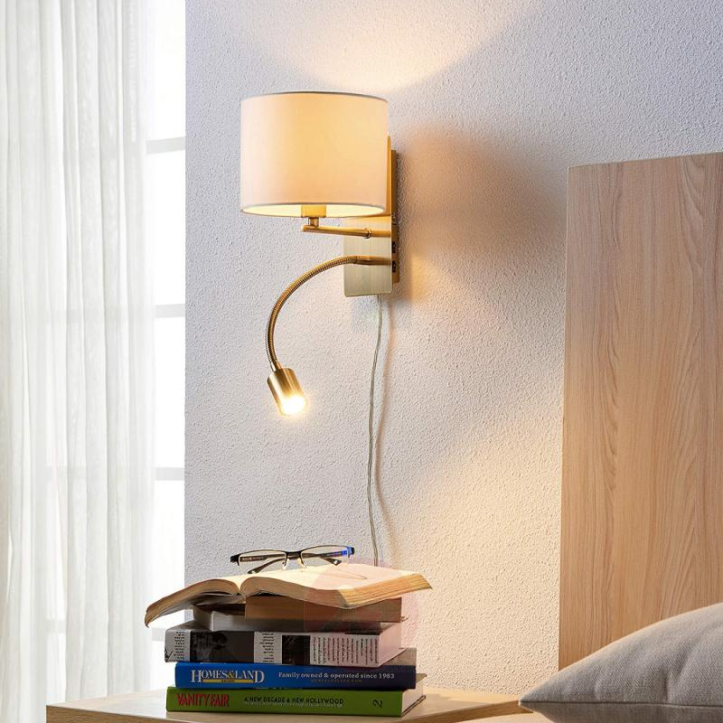 Fabric wall light Florens with LED flexible arm - indoor-lighting