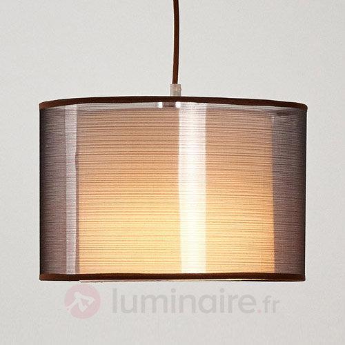 Suspension en tissu brun Jasna avec LED E27 - Suspensions en tissu