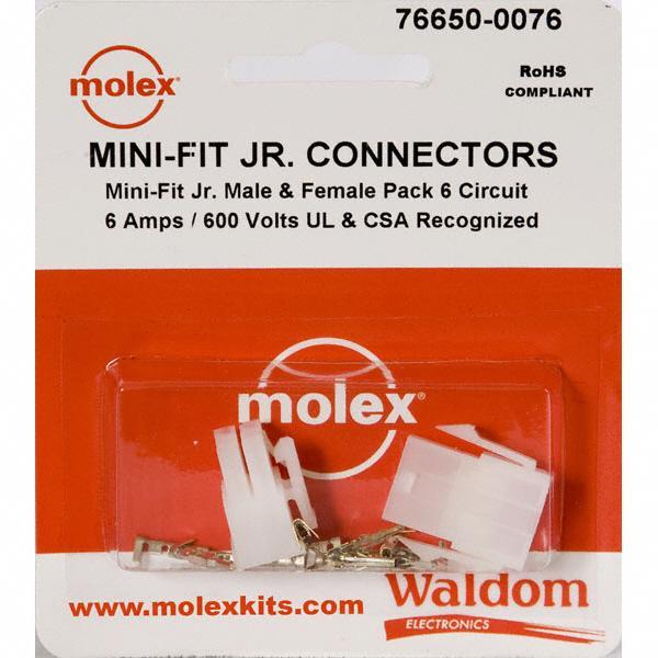 KIT CONN MINI-FIT JR 6 CIRCUITS - Molex Connector Corporation 76650-0076