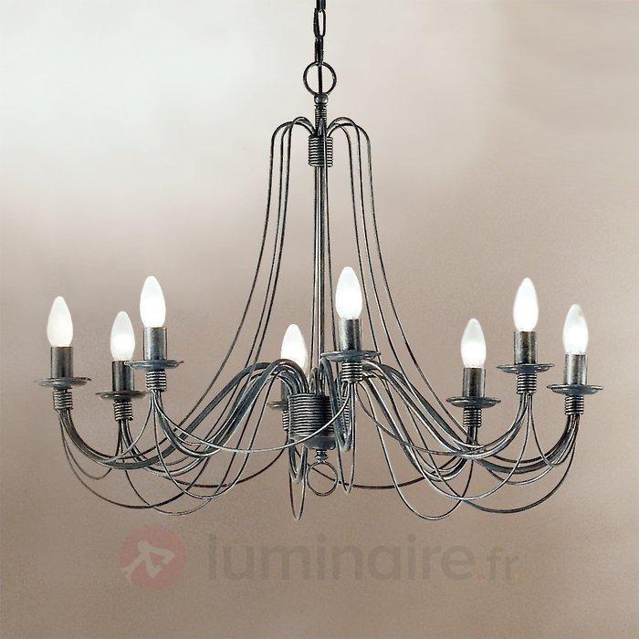 Grand lustre CLARA au style rustique, 8 ampoules - Lustres classiques,antiques