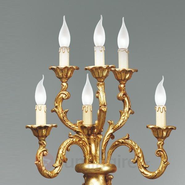 Lampadaire en bois massif, aspect brun-doré - Lampadaires en bois