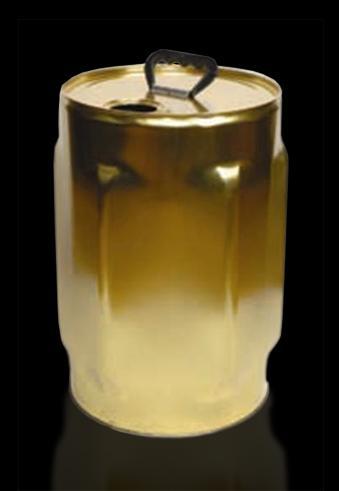 Touques et tonnelets métalliques : touques cylindriques en fer blanc de 10 à 30  - Dimensions et contenances possibles : Ø 286mm 10 litres (hauteur 210mm) 25