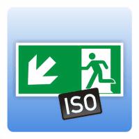 Rettungszeichen Rettungsweg / Notausgang links abwärts ISO 7010 - Größe: 150 x 300 mm 200 x 400 mm 150 x 300 mm