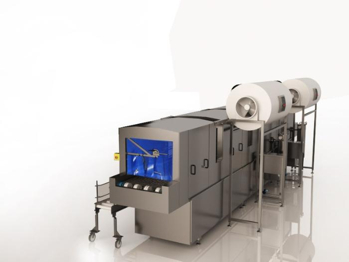 TUNNEL WASHING MACHINE FOR KLT CRATES - Washing and degreasing of KLT crates and forms in the automotive industry