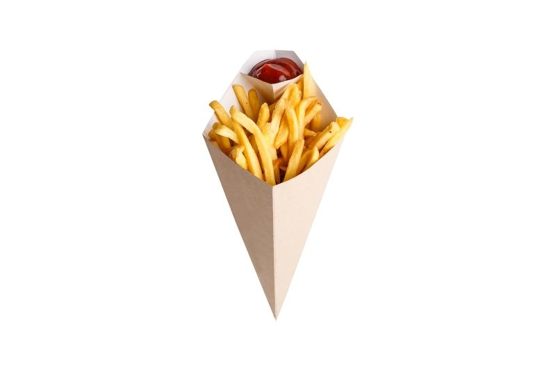 Chip cone with dipping pocket - Kraft chip cone with dipping pocket