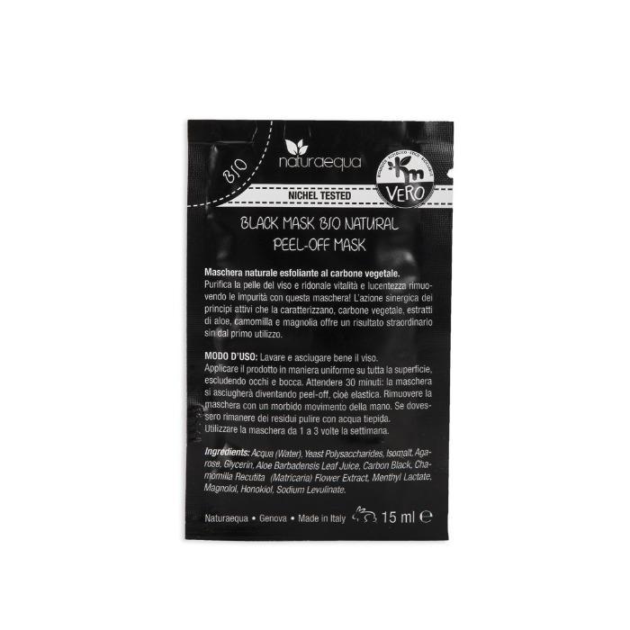 Black Mask bio natural-monodose 18ml - Maschera naturale esfoliante al carbone vegetale.