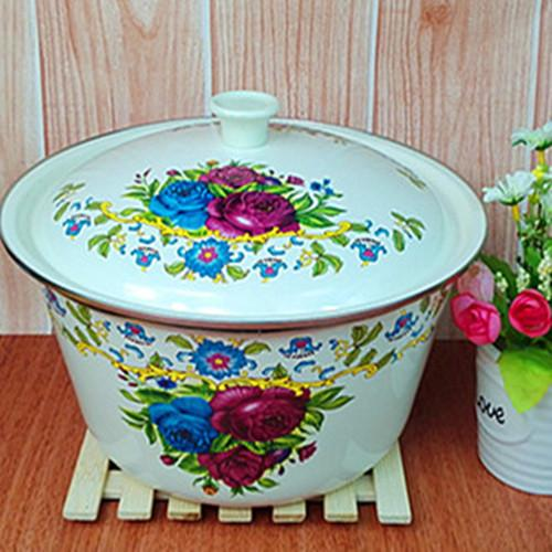 Enamel tureen with cover 24cm - 24 cm