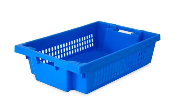 Contenitore in plastica inserible e sovrapponibile  - con apertura nelle maniglie, 25L (chiuso  e /o forate)