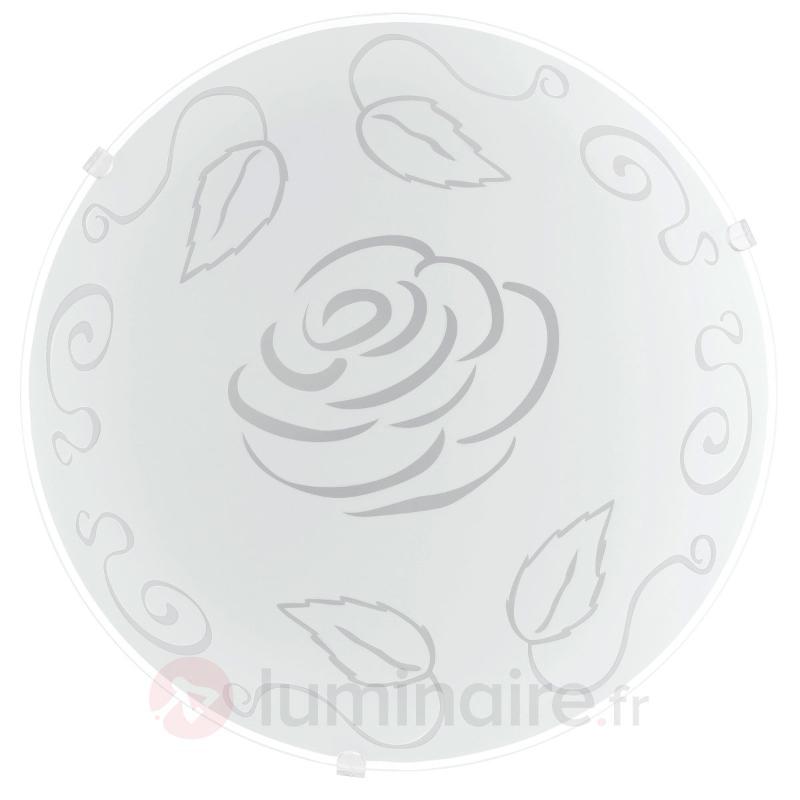 Motif à roses - plafonnier en verre Moira - Plafonniers en verre