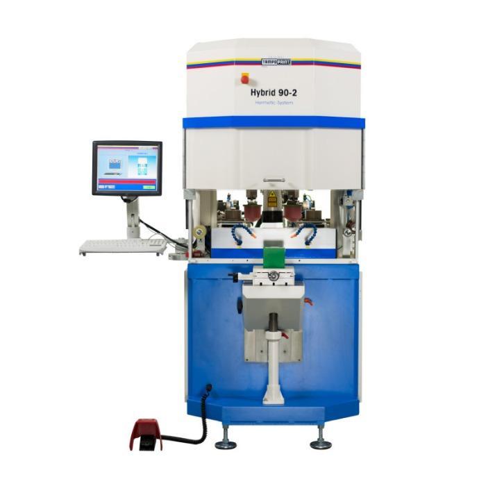 HYBRID Tampondruckmaschinenserie - Zweifarbige Tampondruckmaschine mit integrierter Klischeefertigung.