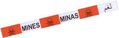 50M MULTILINGUAL MINEFIELD WARNING TAPE - Equipment / Luggage Spot Warning