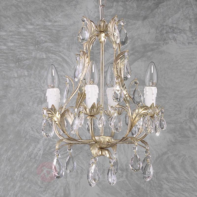 Lustre à 4 lampes PISA argenté - Lustres style florentin