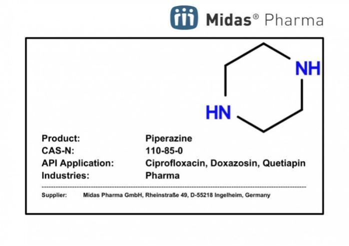 Piperazina - 110-85-0; Building Block; ciprofloxacina, doxazosina, quetiapina, terazosina