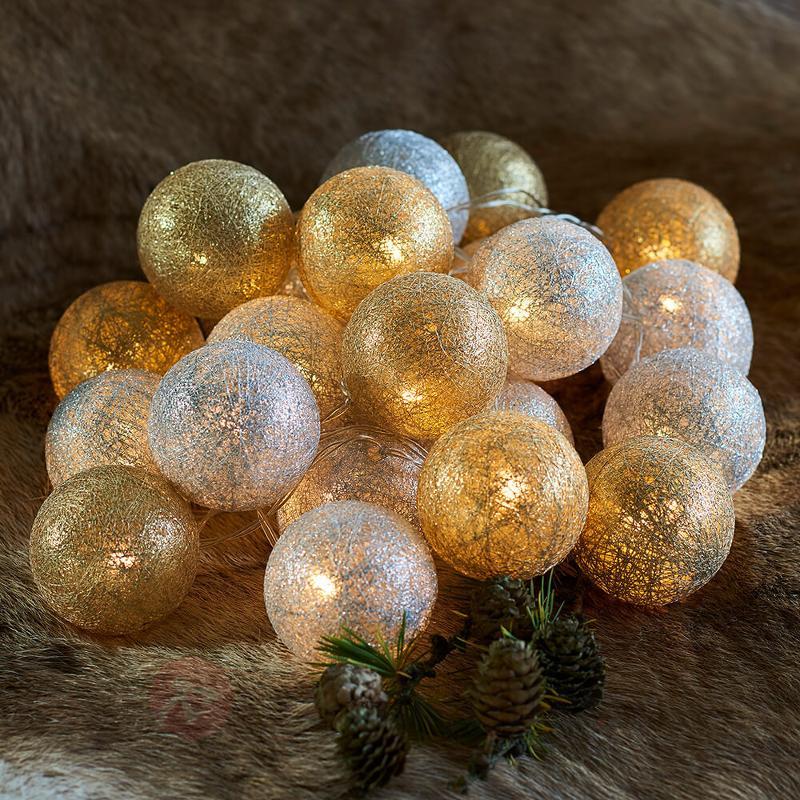 Guirlande lum. LED Bolette à boules - doré argenté