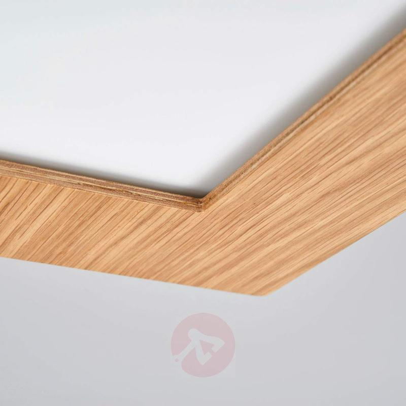 Natural oak LED ceiling lamp Deno with wooden rim - Ceiling Lights