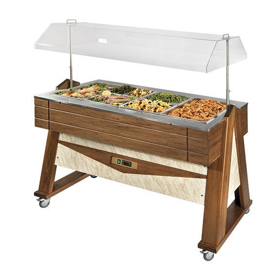 Refrigeration - bain-marie buffet, island model, 4x GN 1/1