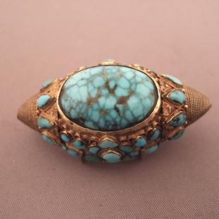 Ornements - Or20ct, argent doré, turquoises, Tibet