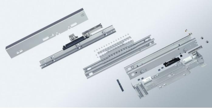 Kinematics assembly with roll-formed profiles - Metal assembly (ZSB) as pull-out system with plastic and zinc die-cast parts