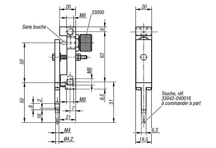 Renvoi à lame à 180° pour comparateur touche parallèle... - Eléments pour montage de contrôle