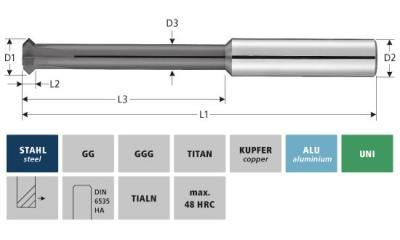 Milling Tools: for steel - sc front-back deburring cutter 90°
