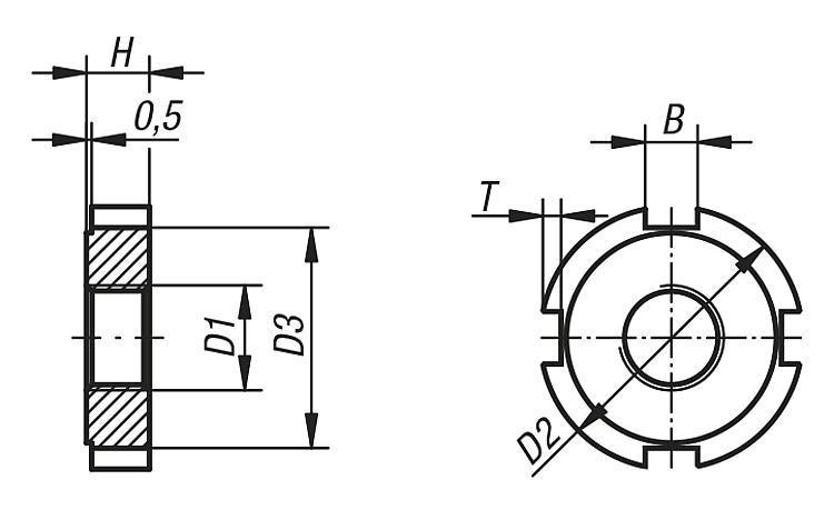 Écrou à encoches DIN 1804 - Éléments de liaison