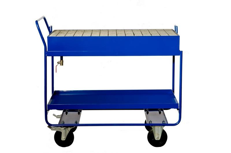 Sump trolley with a tap and galvanized mesh - null
