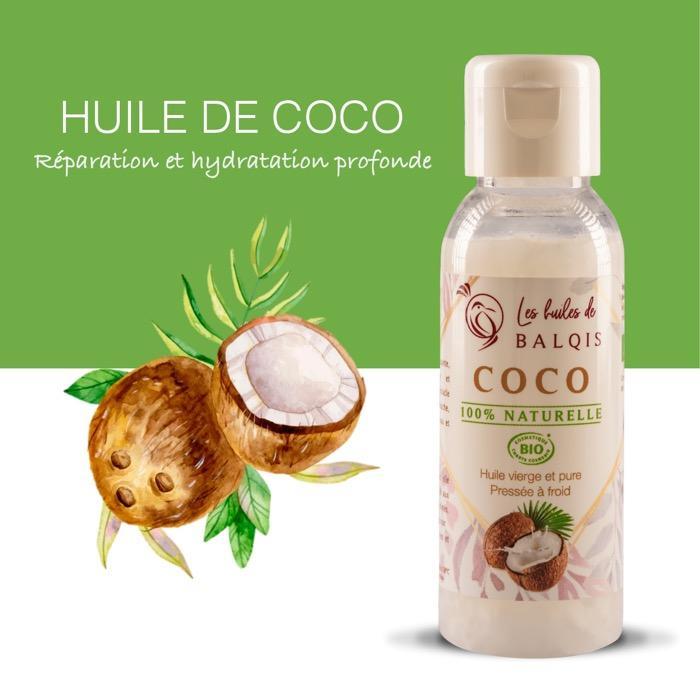 HUILE DE COCO PURE BIO - Soin hydratant et réparateur