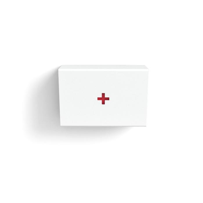 Erste Hilfe Box HELP weiß - Die Halterung für den Erste-Hilfe-Kasten bietet Mullbinden, Pflastern & Co. eine