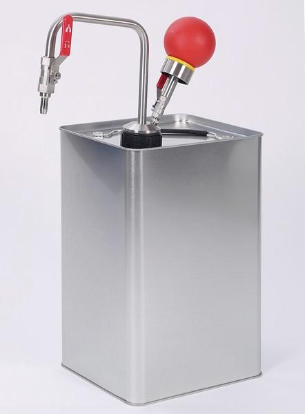 Solvent pump hand operated, for tin-foil canisters - Barrel pump, for organic solvents and flavouring agents