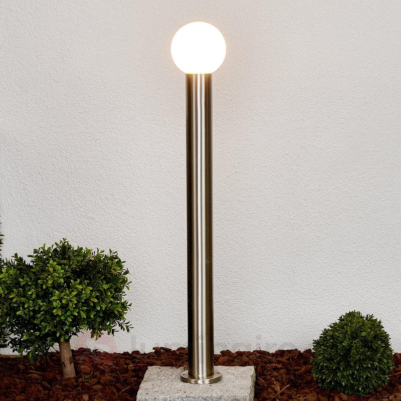 Borne lumineuse Tomma avec abat-jour sphérique - Bornes lumineuses inox
